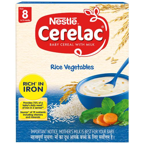 Nestle Cerelac Baby Cereal with Milk - Rice Vegetables, From 8 to 12 Months