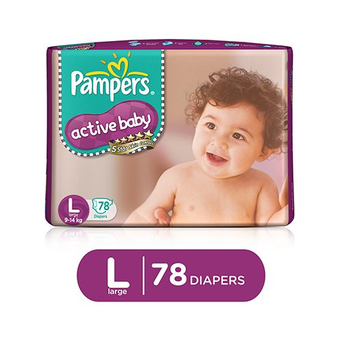 Pampers Active Baby Baby Diaper - Pants, Large, 9-14 kg, Soft Cotton, Soaks up to 12 Hours