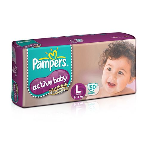 Pampers Active Baby Baby Diaper - Pants, Large, 9-14 kg, Soft Cotton, Soaks up to 10 Hours