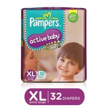 Pampers Active Baby Baby Diaper - Pants, Extra Large, 12+ kg, Soft Cotton, Soaks up to 12 Hours