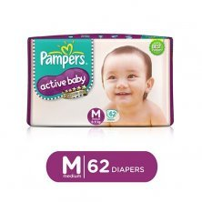 Pampers Active Baby Baby Diaper - Medium, 6-11 kg, Soft Cotton, Soaks up to 12 Hours