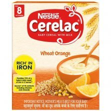 Nestle Cerelac Baby Cereal with Milk - Wheat Orange, From 8-12 Months, Rich in Iron