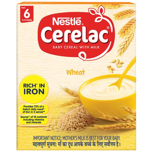 Nestle Cerelac Baby Cereal with Milk - Wheat, From 6-12 Months, Rich in Iron