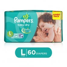 Pampers Baby Dry Baby Diaper - Large, 9-14 kg, Soft Cotton, Soaks up to 12 Hours