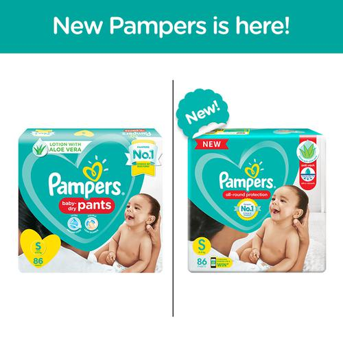Pampers Baby Diaper - Pants, Small, 4-8 kg, Soft Cotton, Soaks up to 12 Hours