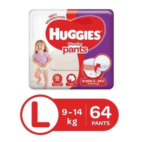 Huggies Wonder Baby Diaper - Pants, Large, 9-14 kg, Soft Cotton, Soaks up to 12 Hours
