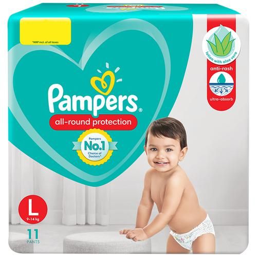 Pampers Baby Diaper - Pants, Large, 9-14 kg, Soft Cotton, Soaks up to 12 Hours