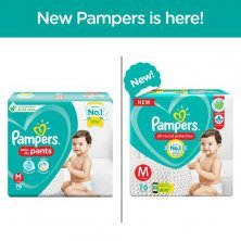 Pampers Baby Diaper - Pants, Medium, 7-12 kg, Soft Cotton, Soaks up to 12 Hours