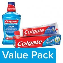 Colgate Toothpaste - Strong Teeth 200G + Mouthwash - Plax Pepper Mint, Imported 250ml