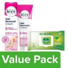 Combo Combo - Veet Hair Removal Cream, Normal + Dettol Disinfectant Wipes