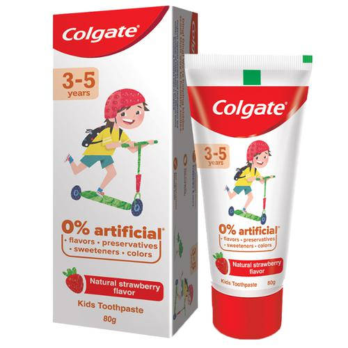 Colgate Kid\'s Toothpaste - 3-5 years, Natural Strawberry Flavour, 0% Artificial