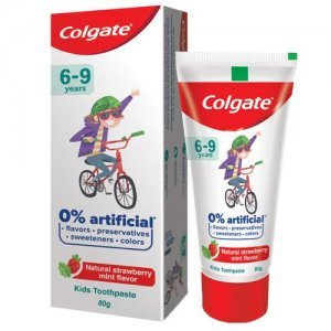 Colgate Kid's Toothpaste - 6-9 Years, Natural Strawberry Mint Flavour, 0% Artificial