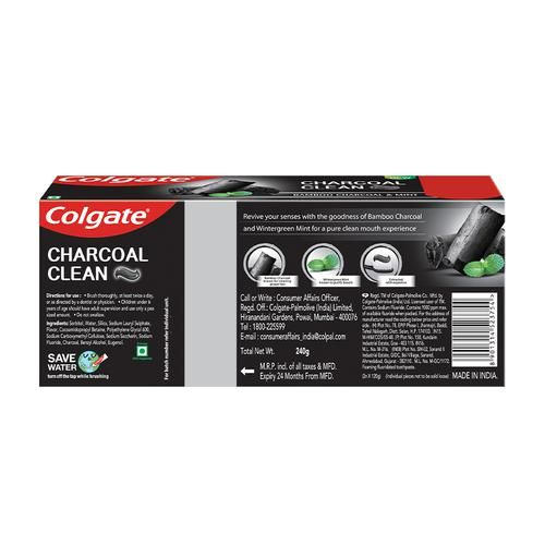 Colgate Charcoal Clean Black Gel Toothpaste - Bamboo Charcoal & Mint, Saver Pack