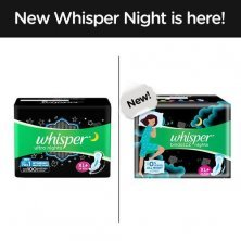 Whisper Ultra Overnight Sanitary Pads With Wings - XL Plus