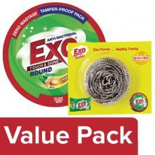 Exo Dish Wash - Round Anti Bacterial Withcyclozan 250 gm + Safal Steel Scrubber 1 pc