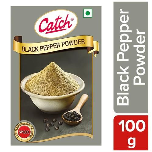 Catch Black Pepper Powder - Natural Sundried, Used in Spicy Seasoning to Soup, Salad or Fruit