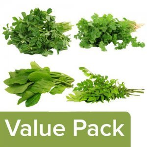 Methi 250 g + Coriander Leaves 100 g + Palak 250 g + Curry Leaves 100 g