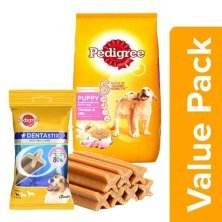 Pedigree Daily Food for Puppy Chicken & Milk 10kg + Dentastix Oral Care Small Breed 110G