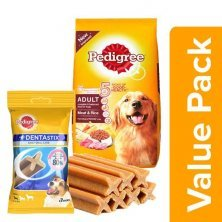 Pedigree Daily Food for Adult Dogs Meat & Rice 10kg+Dentastix Oral Care Small Breed 110G
