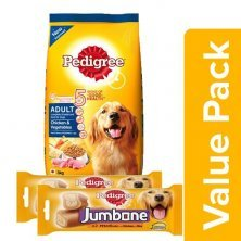 Pedigree Daily Food for Adult Dogs Meat & Rice 3 kg + Jumbone Treat Chicken & Rice 200G