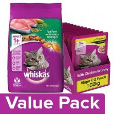 Whiskas Dry- Tuna Flavor 1.2kg + Wet- Chicken in Gravy (for Adult cats) 85G Pack of 12