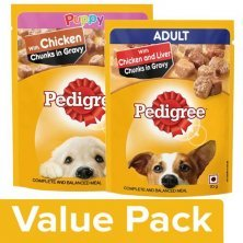 Pedigree Wet Dog Food ChickenChunks In Gravy for Puppy+Liver Chunks AdultDogs(6x70g each)