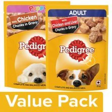 Pedigree Wet Dog Food ChickenChunks In Gravy for Puppy+Liver Chunks AdultDogs(15x70geach)
