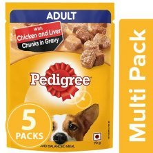 Pedigree Wet Dog Food - Chicken & Liver Chunks In Gravy, For Adult Dogs