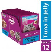Whiskas Wet Cat Food - Tuna In Jelly, For Kittens, 2-12 Months