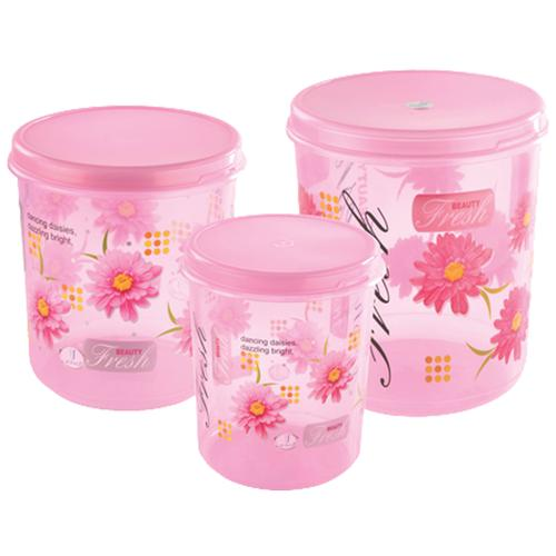 JOYO Storewell Storage Printed Plastic Container Set - Assorted Colour