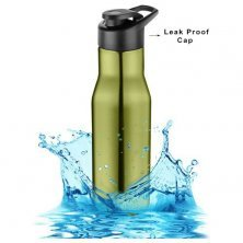 Home Puro Stainless Steel Bottle With Sipper Cap - Metallic Green Finish, PXP 1008 CQ