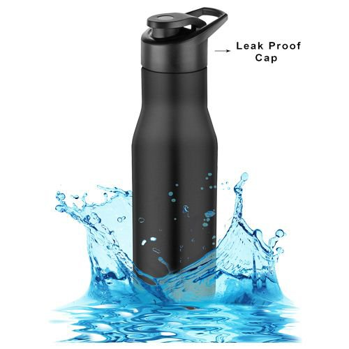 Home Puro Stainless Steel Bottle With Sipper Cap - Black Colour, PXP 1008 CQ