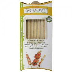 Bamboooz Bamboo Wood Skewer/Picker Barbeque Disposable Stick - 6 Inch