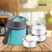 Asian Stainless Steel Lunch Box/Tiffin Box Insulated Leak Proof - Happy Meal, Blue