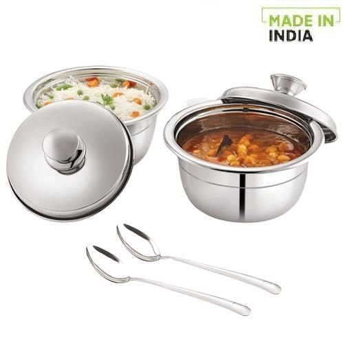 Home Stainless Steel Serving Handi Set With Lids & 2 Serving Spoons