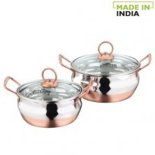 Kitchen Essentials Stainless Steel Cook & Serve Set-Copper Bottom Q Base With Glass Lid