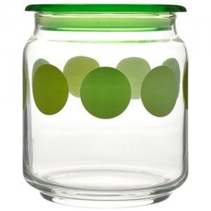 Home Marino Air-Tight Glass Storage Jar With Green Lid