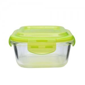 Home Borosilicate Glass Square Food Container With Green Lid