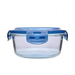 Home Borosilicate Glass Round Food Container With Dark Blue Lid