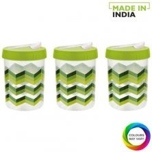 Asian Airtight Plastic Turn & Lock Jar With Spoon - Printed, Assorted Colour