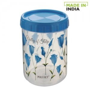 Polyset Plastic Twisty Storage Printed Containers - Blue