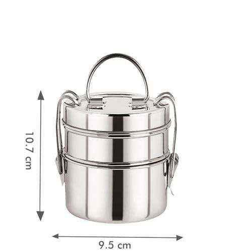 Home Steel Lunch/Tiffin Box With 2 Containers - 7X2