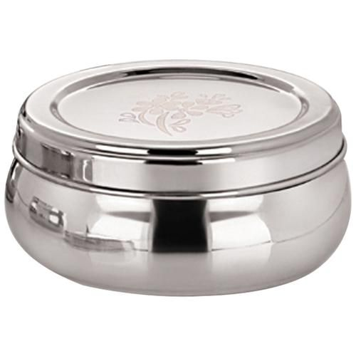 Home Steel Belly Puri Dabba/Container With Lid