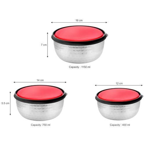 Vinayak Steel Storage Hammered Touch Container Set With Double Moulded PP Lid - Silver