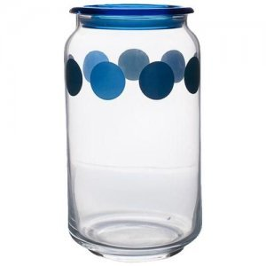 Home Marino Air-Tight Glass Storage Jar With Blue Lid
