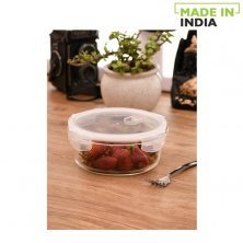 Claycraft Borosilicate Round Glass Food Storage Container With Air Vent Lid