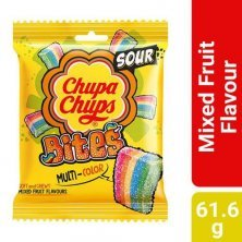 Chupa Chups Sour Bites Mixed Fruit Flavour Soft & Chewy Toffee